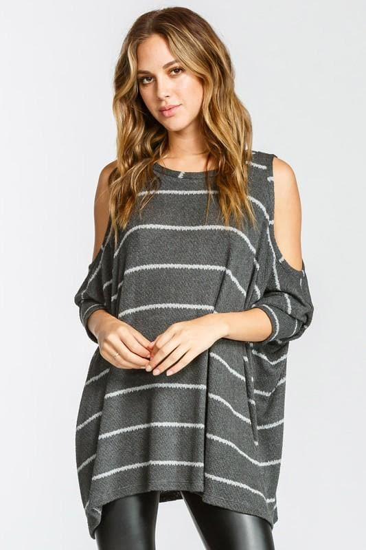 3/4 Length Sleeves Cold Shoulder Stripe Boxy Knit Top