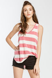 Scoop V-Neck Striped Tank Top
