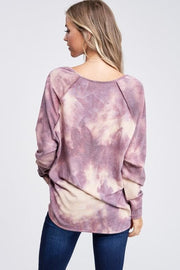 Tie Dye Long Sleeve V-Neck Top