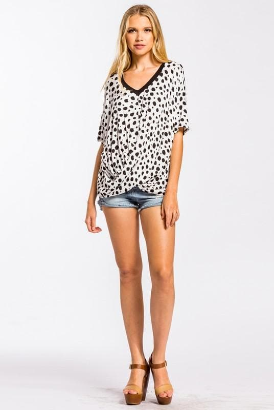 Dalmatian Print Top with Dolman Sleeves