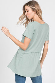 Short Sleeve Ruffled Hem Top