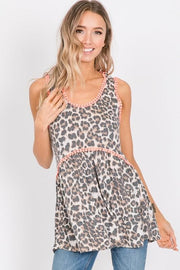 Animal Print Babydoll Top