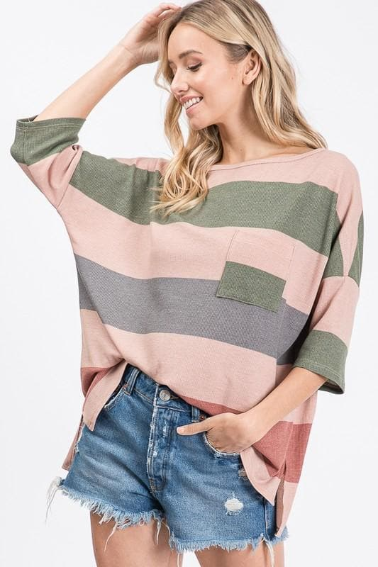 Striped Hi-Low Pocket Top