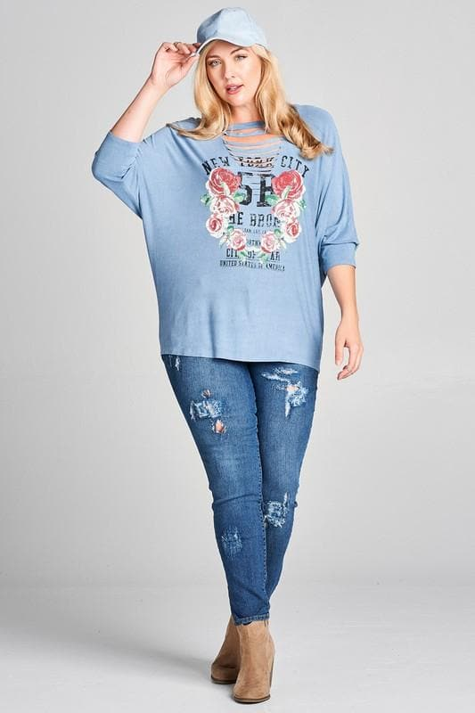 Plus Size New York City Washed Graphic Top with Slits