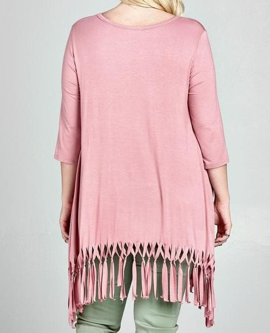 Plus Size Solid Trapeze Tunic Top with Fringes