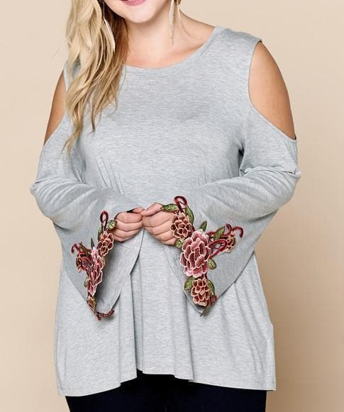 Plus Size Floral Patched Bell Sleeve Cold Shoulder Top