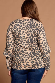 Plus Size Ruffled Detailed Leopard Terry Top
