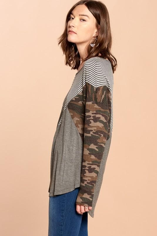 Mixed-Printed Knit  Camo Top (S-3XL)
