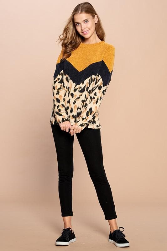 Leopard Printed Color-Blocked Knit Sweater (S-3XL)