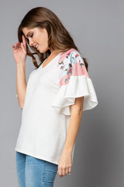 Floral Contrast Ruffle Sleeve V-Neck Top