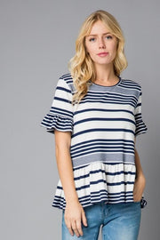 Plus Size Stripe Women's Ruffle Sleeve Top