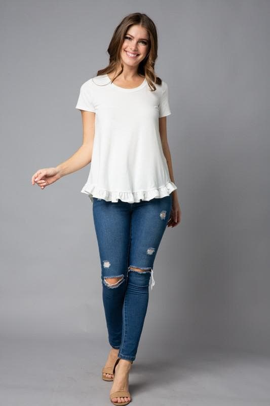 Plus Size Solid Short Sleeve Ruffle Hem Top