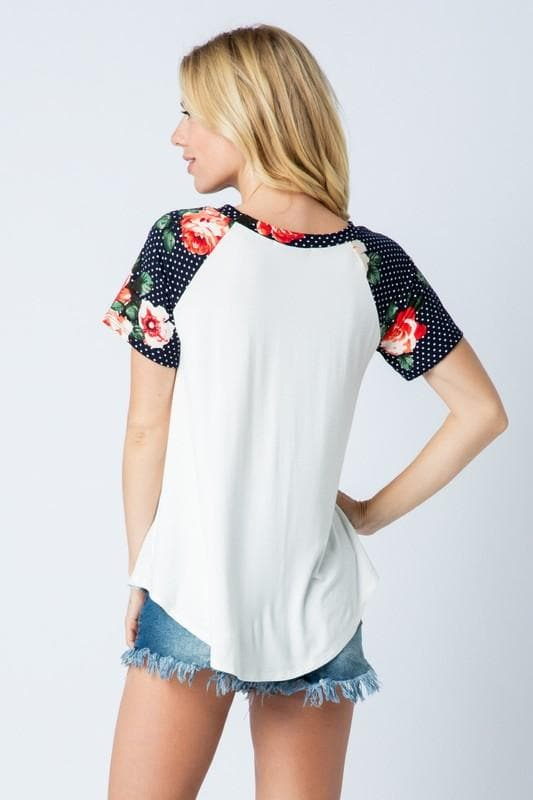 Plus Size Floral Baseball Tee
