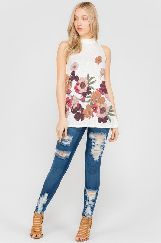 Border Flowers Mock Neck Muscle Top