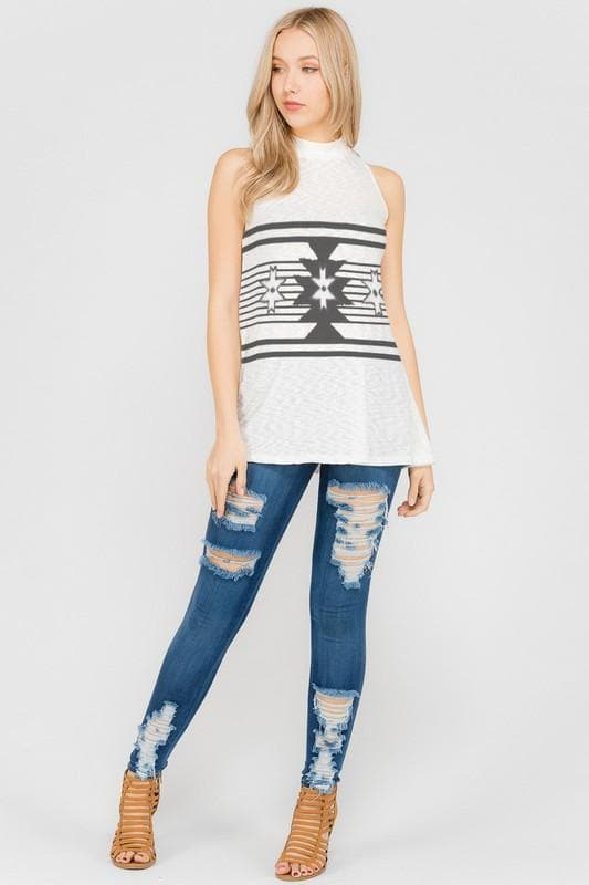 Aztec Print Mock Neck Tank Top