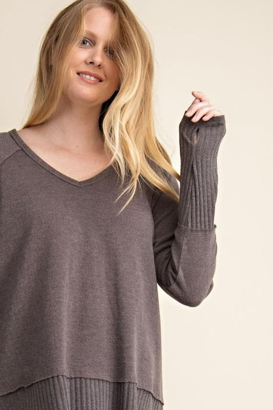 Plus Size Mixed Texture V-Neck Long Sleeve Sweater with Thumb Holes
