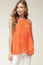 High-Neck Top Featuring Crochet Details at Front