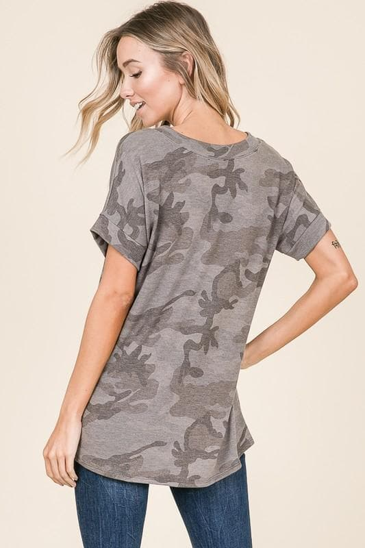 Loose Fit V-Neck Camo Tunic