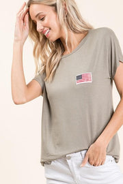Casual Flag Patch Short Sleeve Top