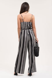 Black and White Striped and Stretchy Jumpsuit