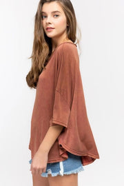 Pol - Relaxed Loose Fit Knit Top with Wide Boat Neck