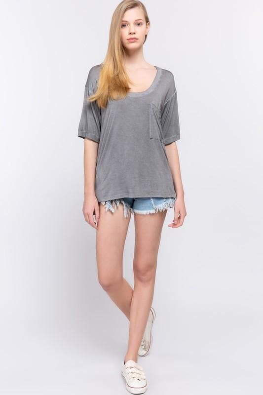 Pol -  Basic MUST HAVE - Short Sleeve Knit Loose Fit Top