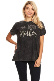 Dip Dye One Tough Mother Distressed Graphic Tee