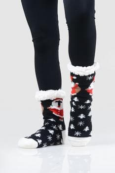 Pug Santa Claus Slipper Socks (9-11)