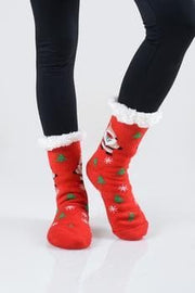 Faux Sherpa Christmas Spirit Slipper Socks (9-11)