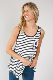 Plus Size Back to Back Stripe and Floral Tank with Pocket
