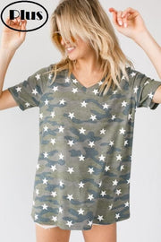 Plus Size Camo Short Sleeve V-Neck Tunic Top