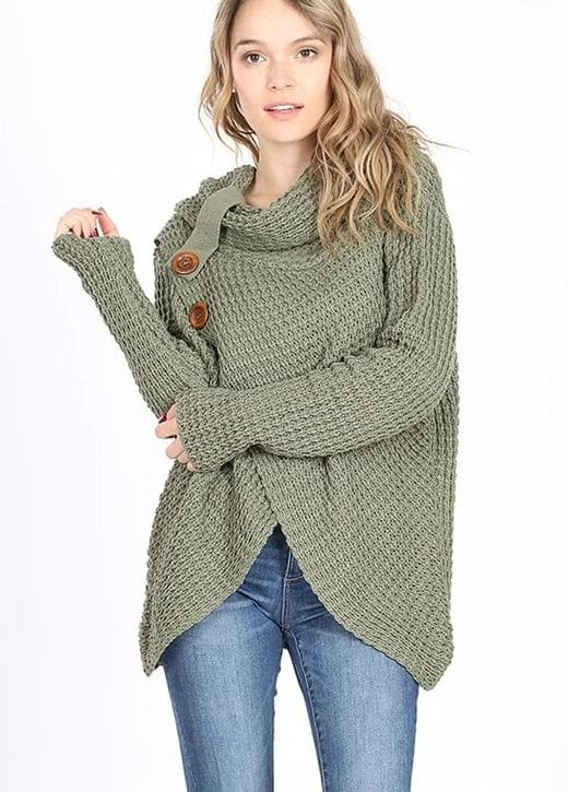 Doorbuster Wrap Asymmetrical Hem Sweater