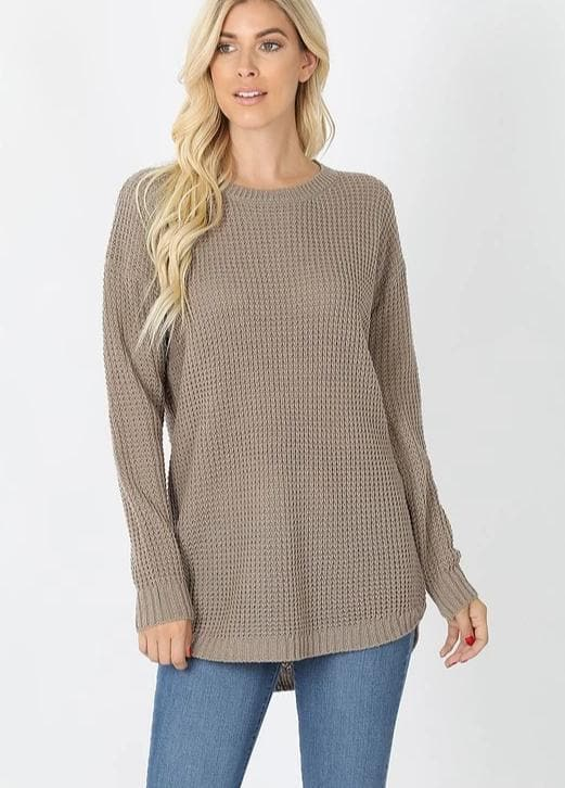 Doorbuster Hi-Low Long Sleeve Round Neck Waffle Sweater (S-3XL)