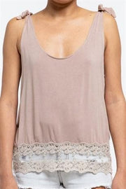 Pol - Shoulder Tie Tank Top with Lace Hem Detail