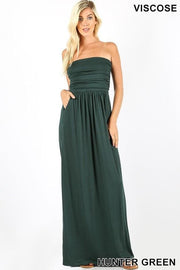 Viscose Tube Maxi Dress with Elastic Waist and Side Pockets