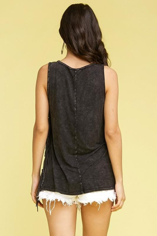 Mineral Wash Side Fringe The Hippies Graphic Top