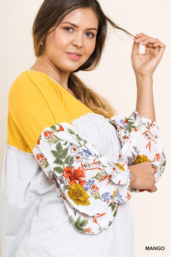 Plus Size Floral Puff Sleeve Top with Ruffle Details
