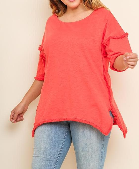 Plus Size High Low Tunic with Fringed Hems