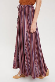 Striped Self-Tie Maxi Skirt