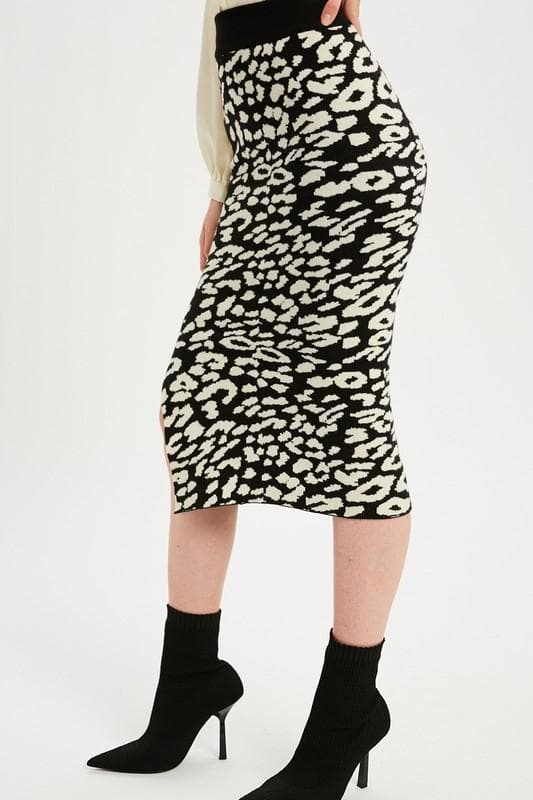 Leopard Casual Knit Skirt