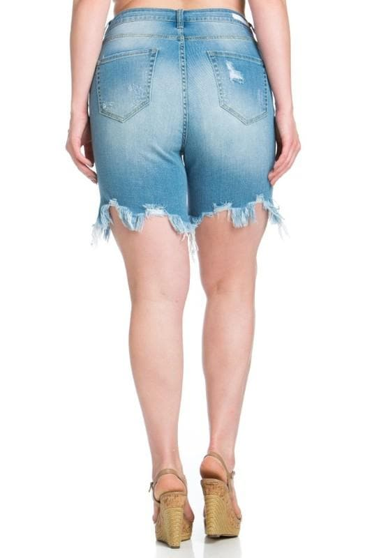 Plus Size High Rise Frayed Bermuda Shorts