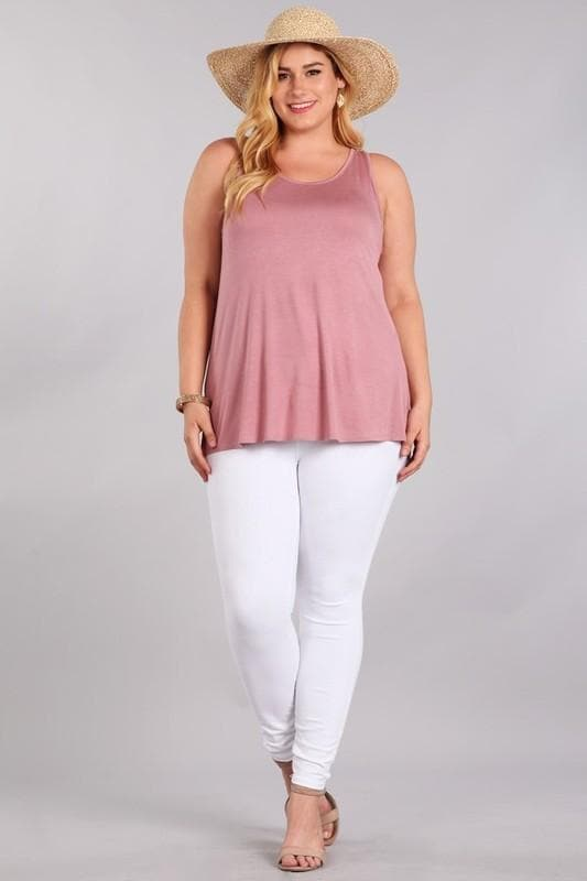 Plus Size Solid Tank Top with Scoop Neck
