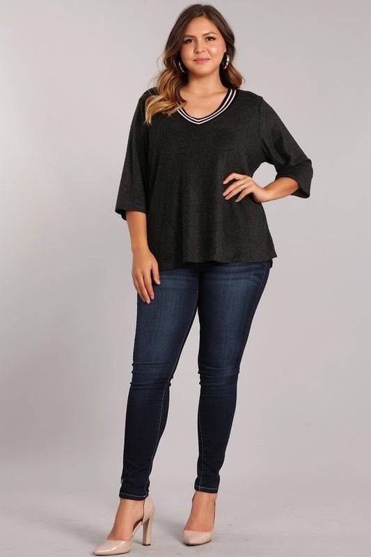 Plus Size V-Neck Tape Trim 3/4 Sleeve Top