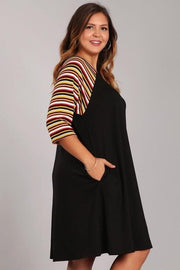 Plus Size Solid Pocket Dress with Striped Sleeves