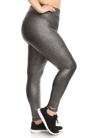 Plus Size Metallic Faux Leather High Waisted Leggings