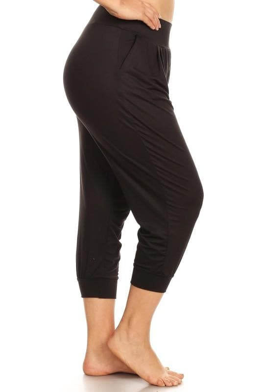 Plus Size Women's Crop Harem Loose Fit Yoga Pants