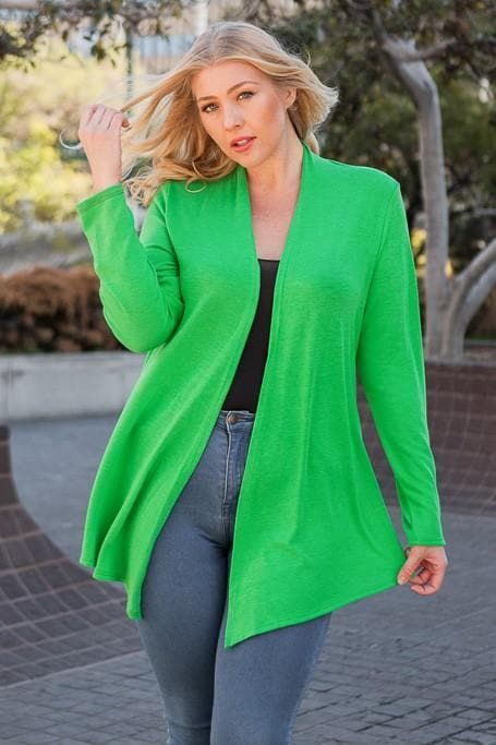 Plus Size Knit Hacci Open Cardigan