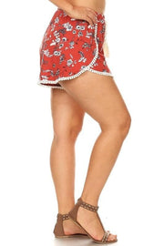 Plus Size Women's Floral Pompom Shorts