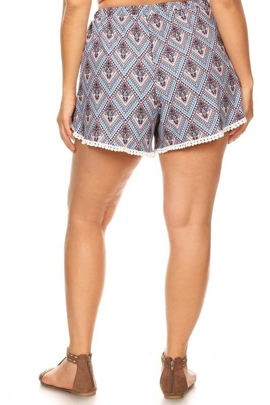Plus Size Women's Pompom Shorts Soft Brushed Boho