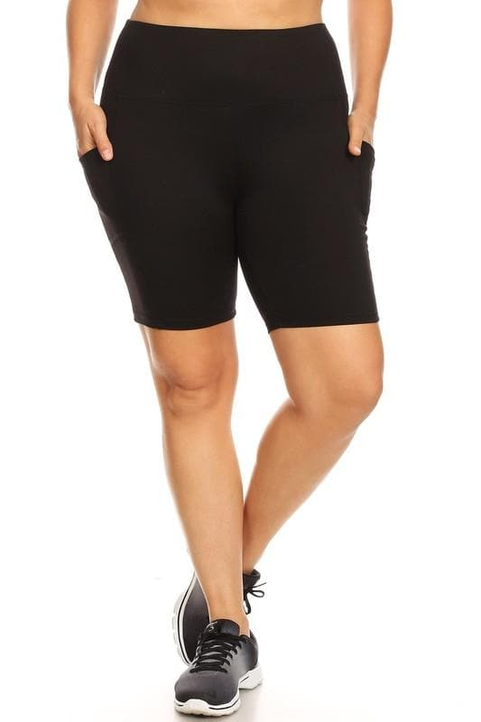 Plus Size Women's Solid Tummy Control Biker Shorts